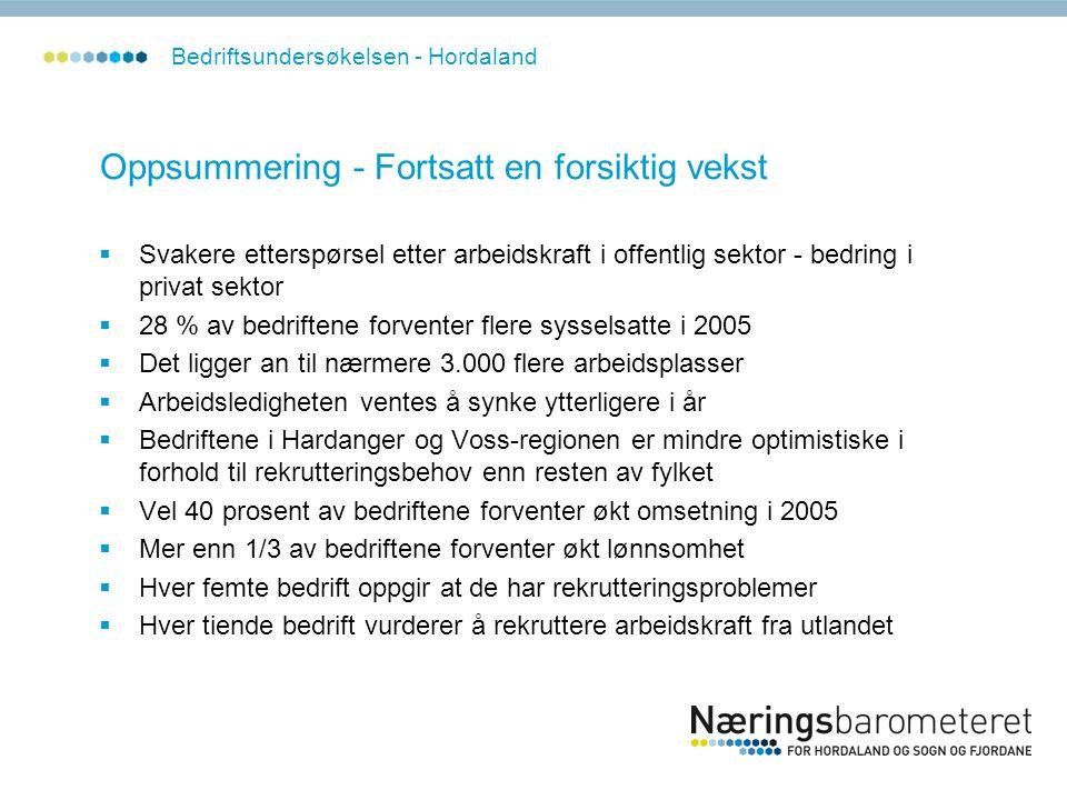 Oppsummering - Fortsatt en forsiktig vekst  Svakere etterspørsel etter arbeidskraft i offentlig sektor - bedring i privat sektor  28 % av bedriftene forventer flere sysselsatte i 2005  Det ligger an til nærmere 3.000 flere arbeidsplasser  Arbeidsledigheten ventes å synke ytterligere i år  Bedriftene i Hardanger og Voss-regionen er mindre optimistiske i forhold til rekrutteringsbehov enn resten av fylket  Vel 40 prosent av bedriftene forventer økt omsetning i 2005  Mer enn 1/3 av bedriftene forventer økt lønnsomhet  Hver femte bedrift oppgir at de har rekrutteringsproblemer  Hver tiende bedrift vurderer å rekruttere arbeidskraft fra utlandet Bedriftsundersøkelsen - Hordaland