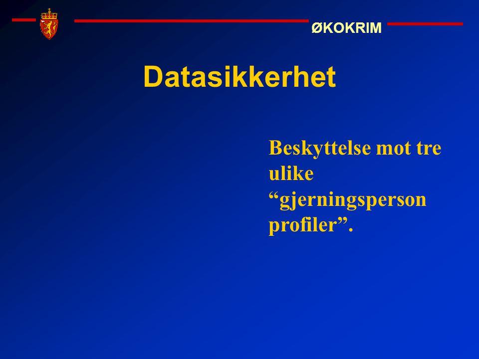 """ØKOKRIM Datasikkerhet Beskyttelse mot tre ulike """"gjerningsperson profiler""""."""