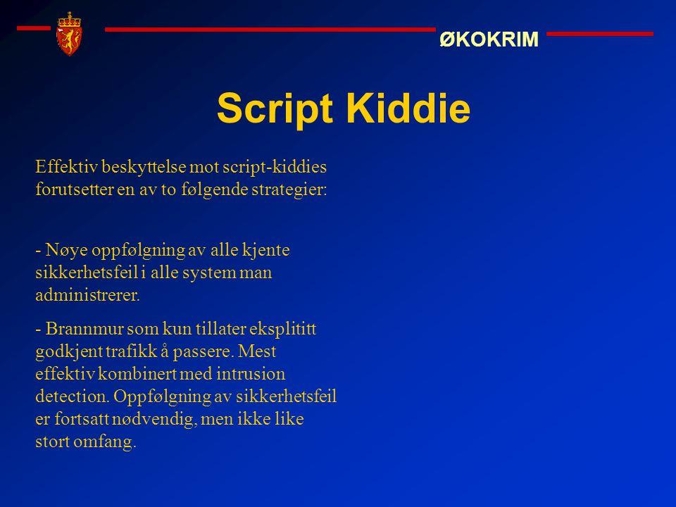 ØKOKRIM Script Kiddie Effektiv beskyttelse mot script-kiddies forutsetter en av to følgende strategier: - Nøye oppfølgning av alle kjente sikkerhetsfe