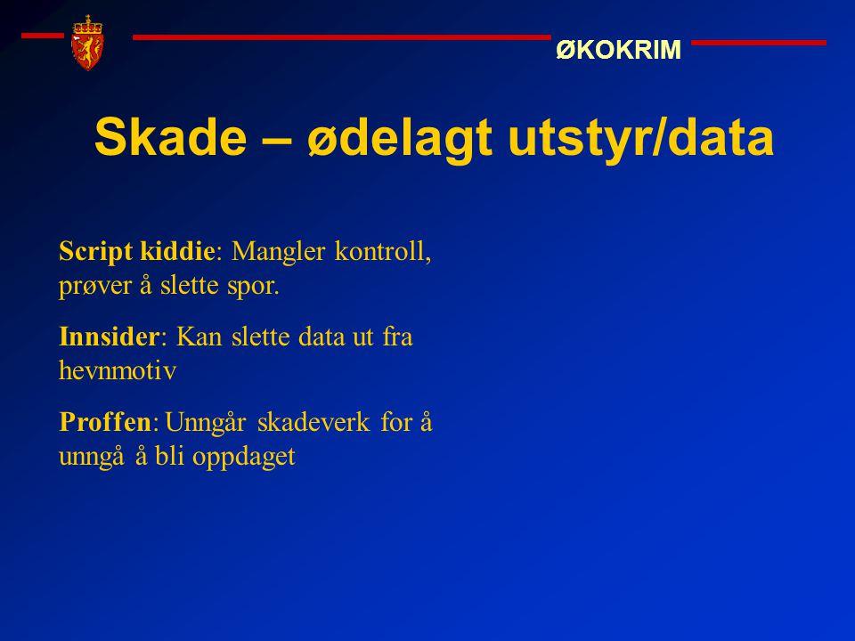 ØKOKRIM Skade – ødelagt utstyr/data Script kiddie: Mangler kontroll, prøver å slette spor. Innsider: Kan slette data ut fra hevnmotiv Proffen: Unngår