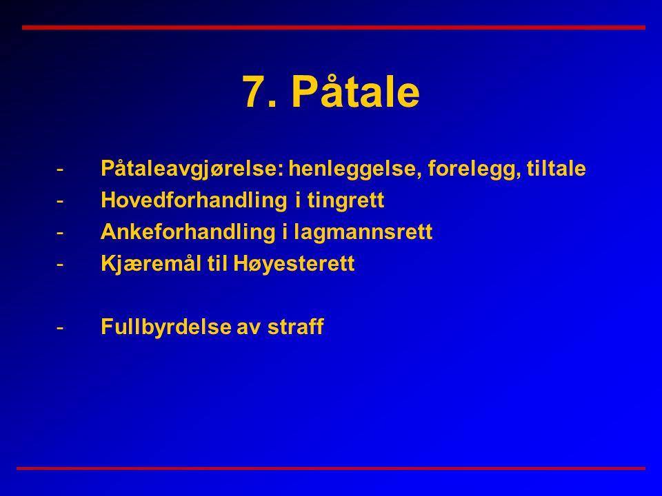 7. Påtale -Påtaleavgjørelse: henleggelse, forelegg, tiltale -Hovedforhandling i tingrett -Ankeforhandling i lagmannsrett -Kjæremål til Høyesterett -Fu