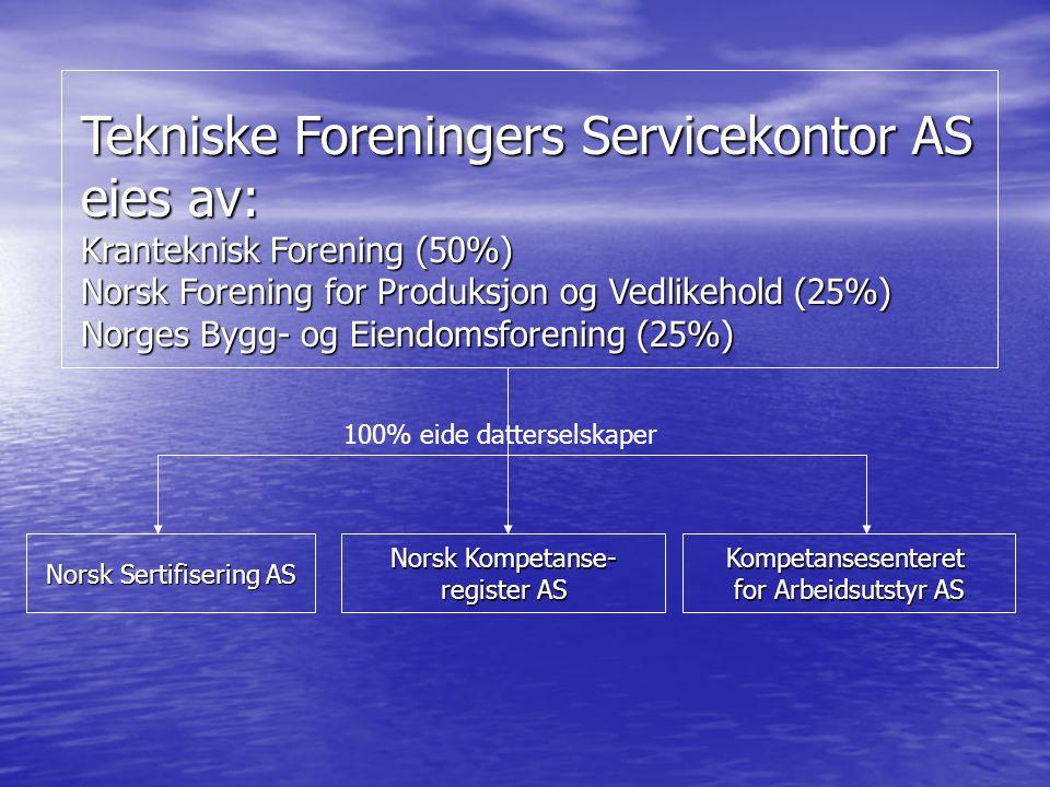 Tekniske Foreningers Servicekontor AS eies av: Kranteknisk Forening (50%) Norsk Forening for Produksjon og Vedlikehold (25%) Norges Bygg- og Eiendomsf