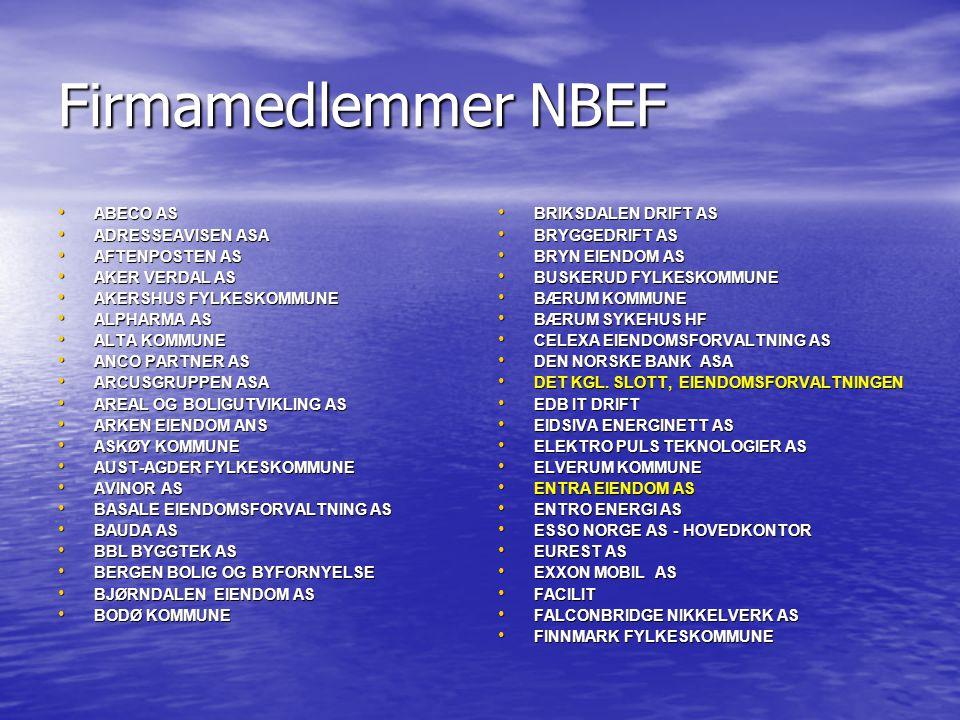 Firmamedlemmer NBEF • ABECO AS • ADRESSEAVISEN ASA • AFTENPOSTEN AS • AKER VERDAL AS • AKERSHUS FYLKESKOMMUNE • ALPHARMA AS • ALTA KOMMUNE • ANCO PART