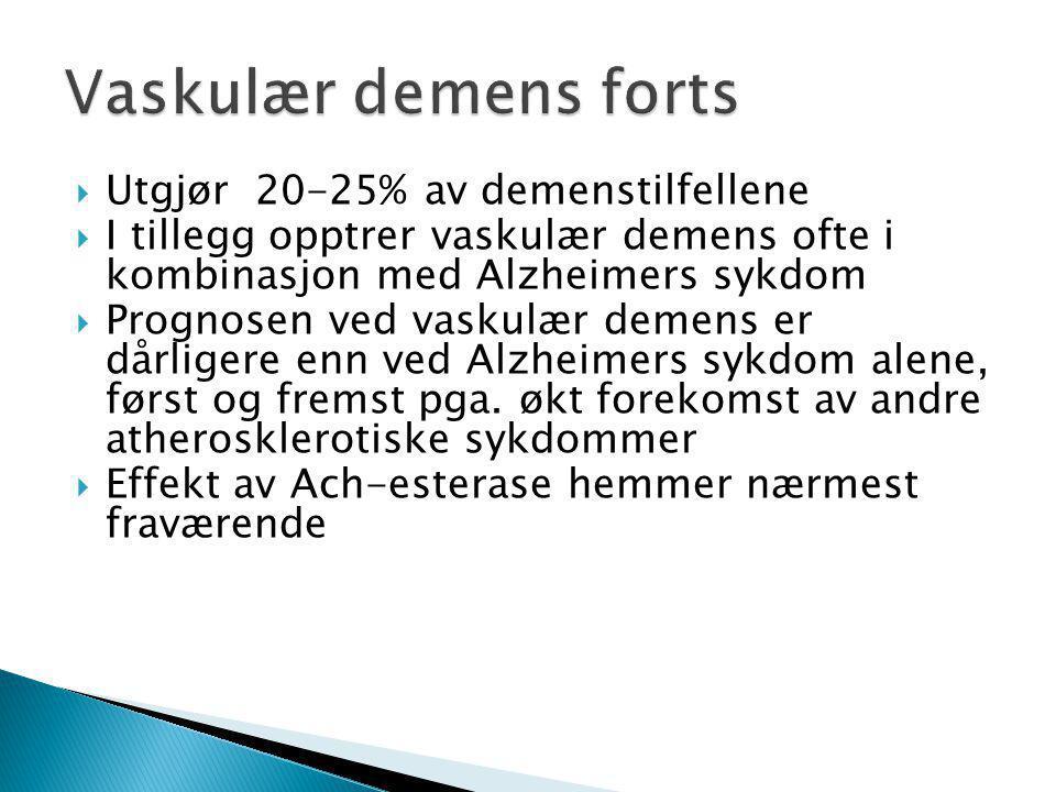  Utgjør 20-25% av demenstilfellene  I tillegg opptrer vaskulær demens ofte i kombinasjon med Alzheimers sykdom  Prognosen ved vaskulær demens er då