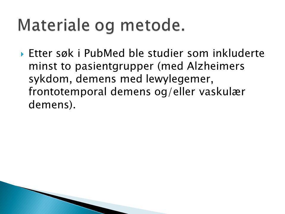  Etter søk i PubMed ble studier som inkluderte minst to pasientgrupper (med Alzheimers sykdom, demens med lewylegemer, frontotemporal demens og/eller