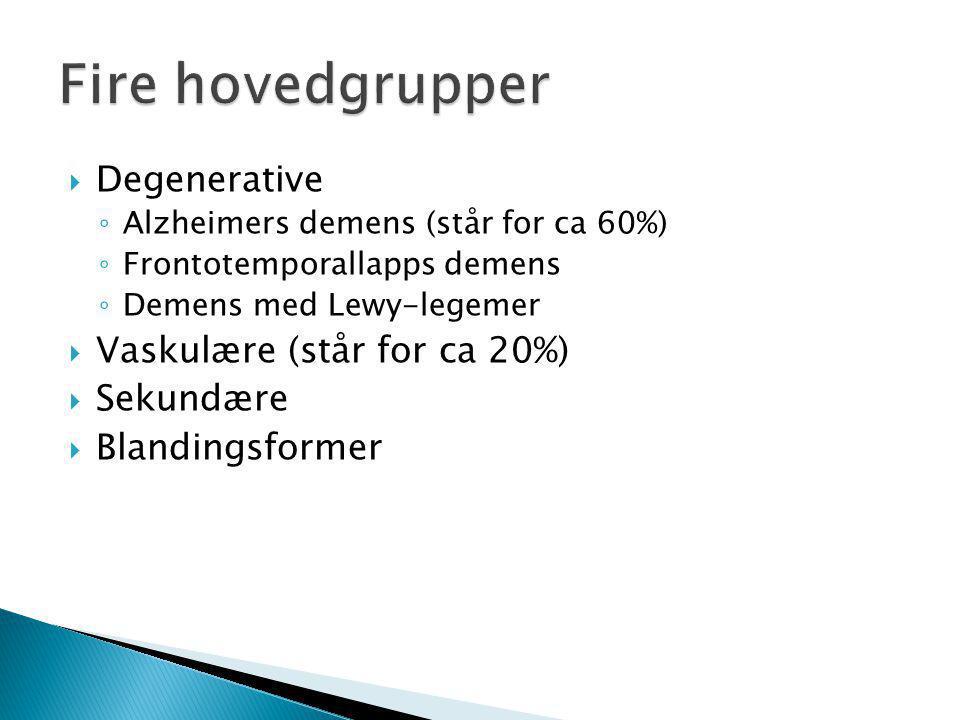  Degenerative ◦ Alzheimers demens (står for ca 60%) ◦ Frontotemporallapps demens ◦ Demens med Lewy-legemer  Vaskulære (står for ca 20%)  Sekundære  Blandingsformer