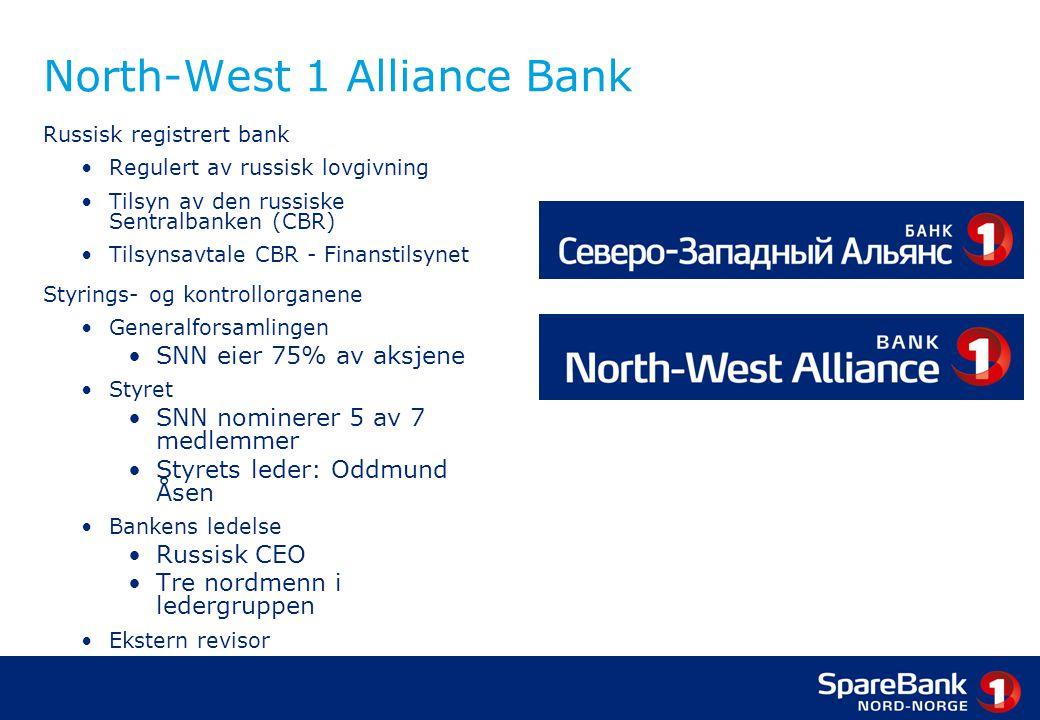 North-West 1 Alliance Bank Russisk registrert bank •Regulert av russisk lovgivning •Tilsyn av den russiske Sentralbanken (CBR) •Tilsynsavtale CBR - Finanstilsynet Styrings- og kontrollorganene •Generalforsamlingen •SNN eier 75% av aksjene •Styret •SNN nominerer 5 av 7 medlemmer •Styrets leder: Oddmund Åsen •Bankens ledelse •Russisk CEO •Tre nordmenn i ledergruppen •Ekstern revisor •Uavhengig Kontrollkomite