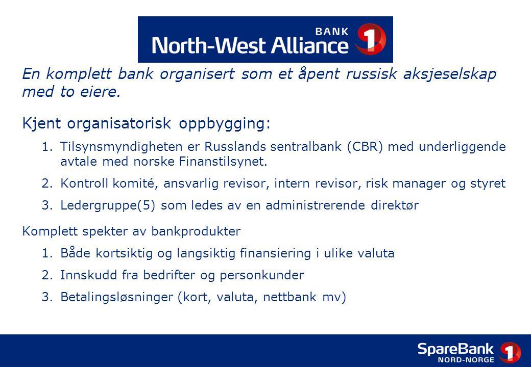 En komplett bank organisert som et åpent russisk aksjeselskap med to eiere. Kjent organisatorisk oppbygging: 1.Tilsynsmyndigheten er Russlands sentral