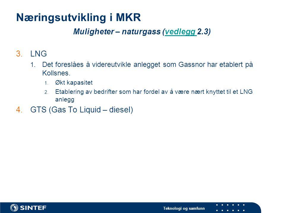 Teknologi og samfunn Næringsutvikling i MKR Muligheter – overskuddsressurser 5.Overskuddsenergi 1.Raffineri: Verdier, i form av overskuddsenergi, kommer ut fra raffineri og varmekraftverk på Mongstad.