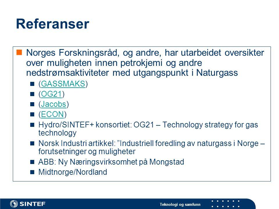 Teknologi og samfunn Referanser  Norges Forskningsråd, og andre, har utarbeidet oversikter over muligheten innen petrokjemi og andre nedstrømsaktiviteter med utgangspunkt i Naturgass  (GASSMAKS)GASSMAKS  (OG21)OG21  (Jacobs)Jacobs  (ECON)ECON  Hydro/SINTEF+ konsortiet: OG21 – Technology strategy for gas technology  Norsk Industri artikkel: Industriell foredling av naturgass i Norge – forutsetninger og muligheter  ABB: Ny Næringsvirksomhet på Mongstad  Midtnorge/Nordland