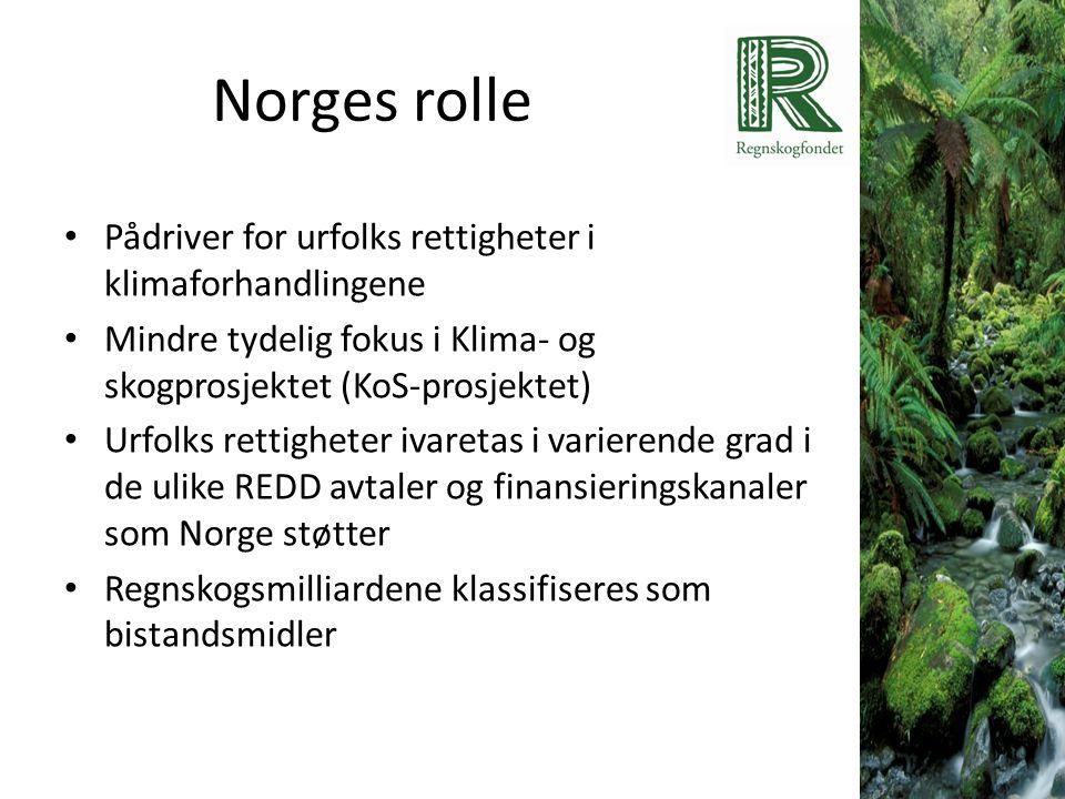 Norges rolle • Pådriver for urfolks rettigheter i klimaforhandlingene • Mindre tydelig fokus i Klima- og skogprosjektet (KoS-prosjektet) • Urfolks ret