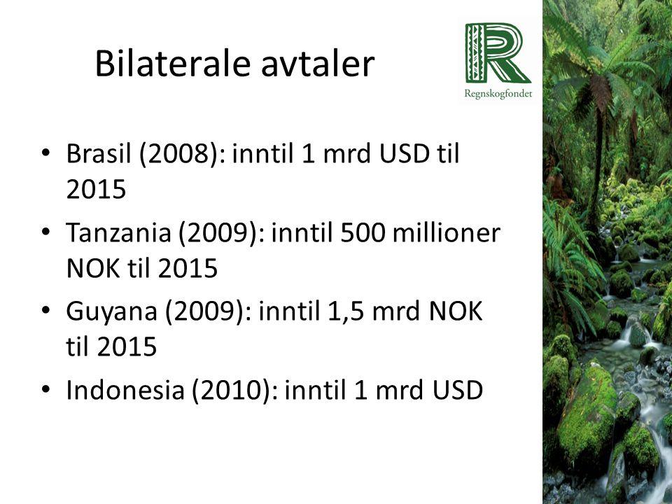 Bilaterale avtaler • Brasil (2008): inntil 1 mrd USD til 2015 • Tanzania (2009): inntil 500 millioner NOK til 2015 • Guyana (2009): inntil 1,5 mrd NOK