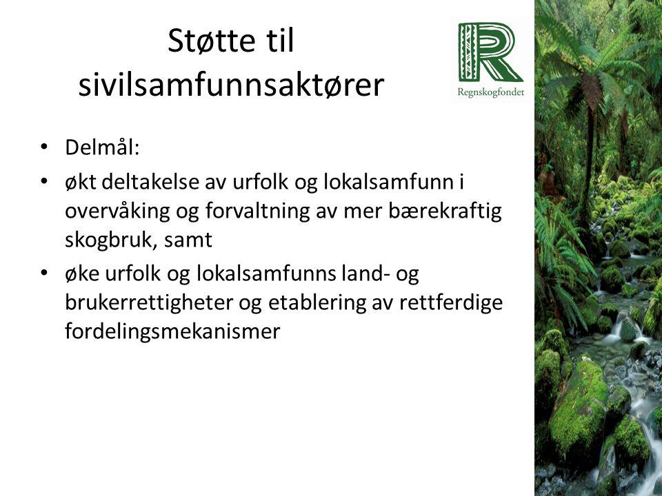 Støtte til sivilsamfunnsaktører • Delmål: • økt deltakelse av urfolk og lokalsamfunn i overvåking og forvaltning av mer bærekraftig skogbruk, samt • ø