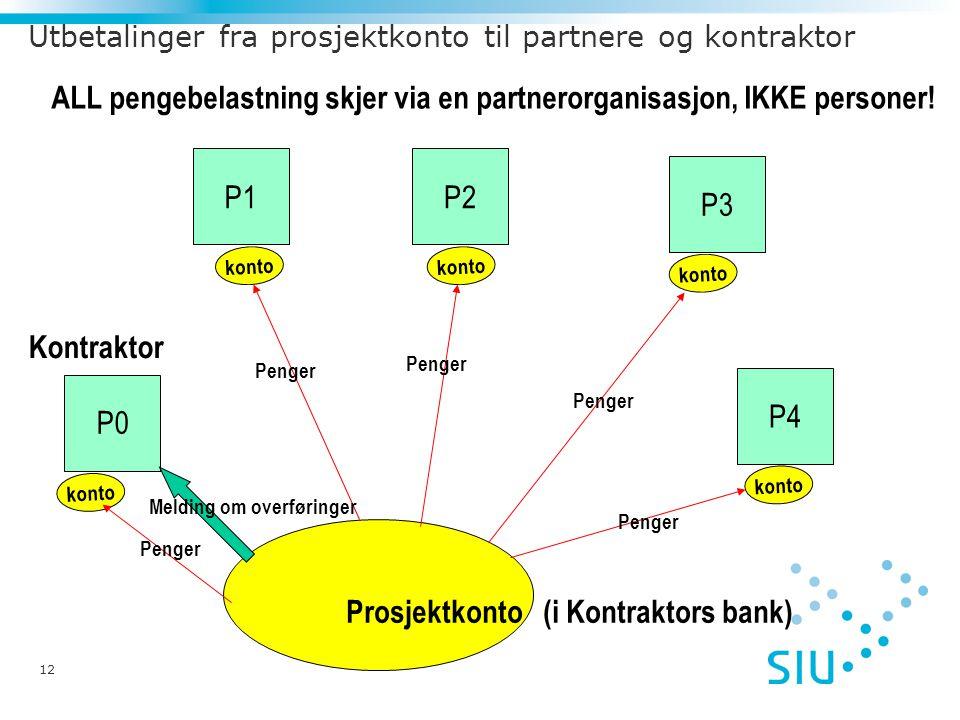 12 Utbetalinger fra prosjektkonto til partnere og kontraktor Prosjektkonto (i Kontraktors bank) P2 P3 P1 P4 Kontraktor P0 ALL pengebelastning skjer via en partnerorganisasjon, IKKE personer.