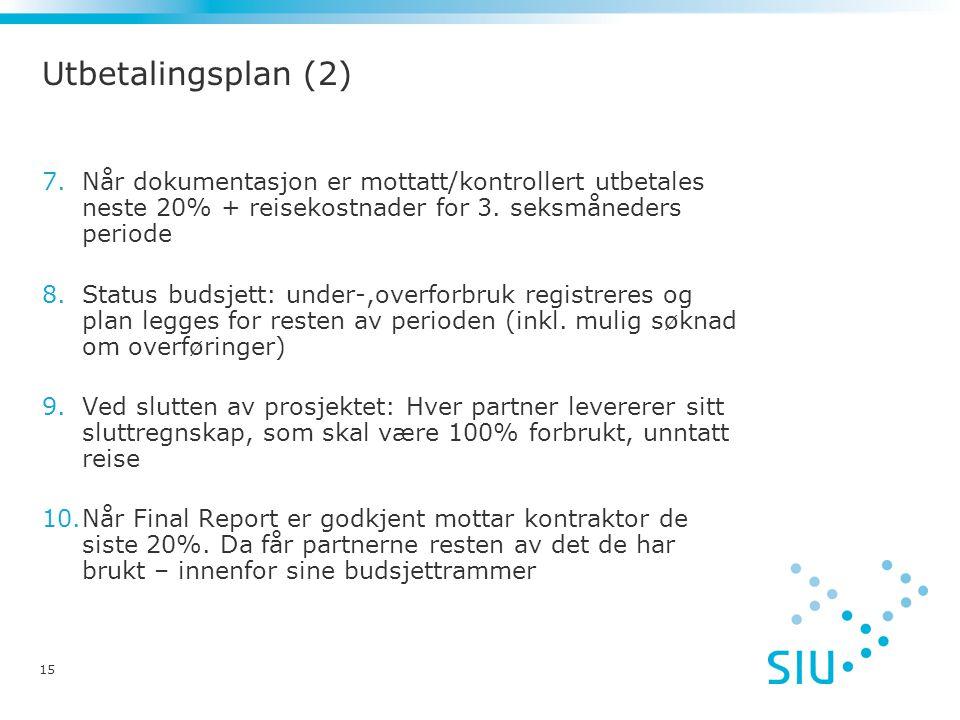 15 Utbetalingsplan (2) 7.Når dokumentasjon er mottatt/kontrollert utbetales neste 20% + reisekostnader for 3.