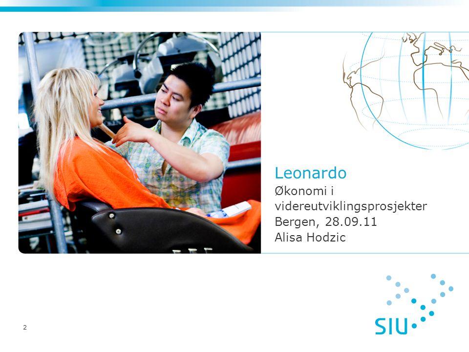 2 Leonardo Økonomi i videreutviklingsprosjekter Bergen, 28.09.11 Alisa Hodzic