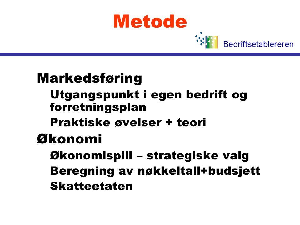 Metode l Markedsføring •Utgangspunkt i egen bedrift og forretningsplan •Praktiske øvelser + teori l Økonomi •Økonomispill – strategiske valg •Beregnin