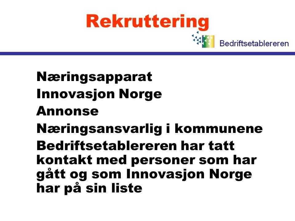 Rekruttering l Næringsapparat l Innovasjon Norge l Annonse l Næringsansvarlig i kommunene l Bedriftsetablereren har tatt kontakt med personer som har