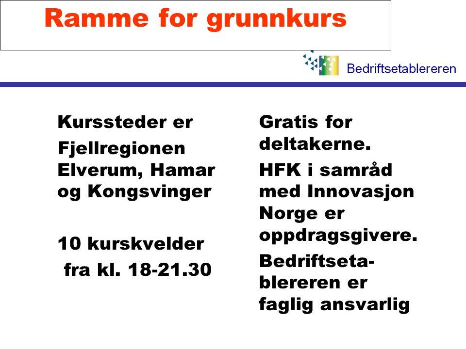 Ramme for grunnkurs l Kurssteder er Fjellregionen Elverum, Hamar og Kongsvinger l 10 kurskvelder fra kl. 18-21.30 l Gratis for deltakerne. l HFK i sam