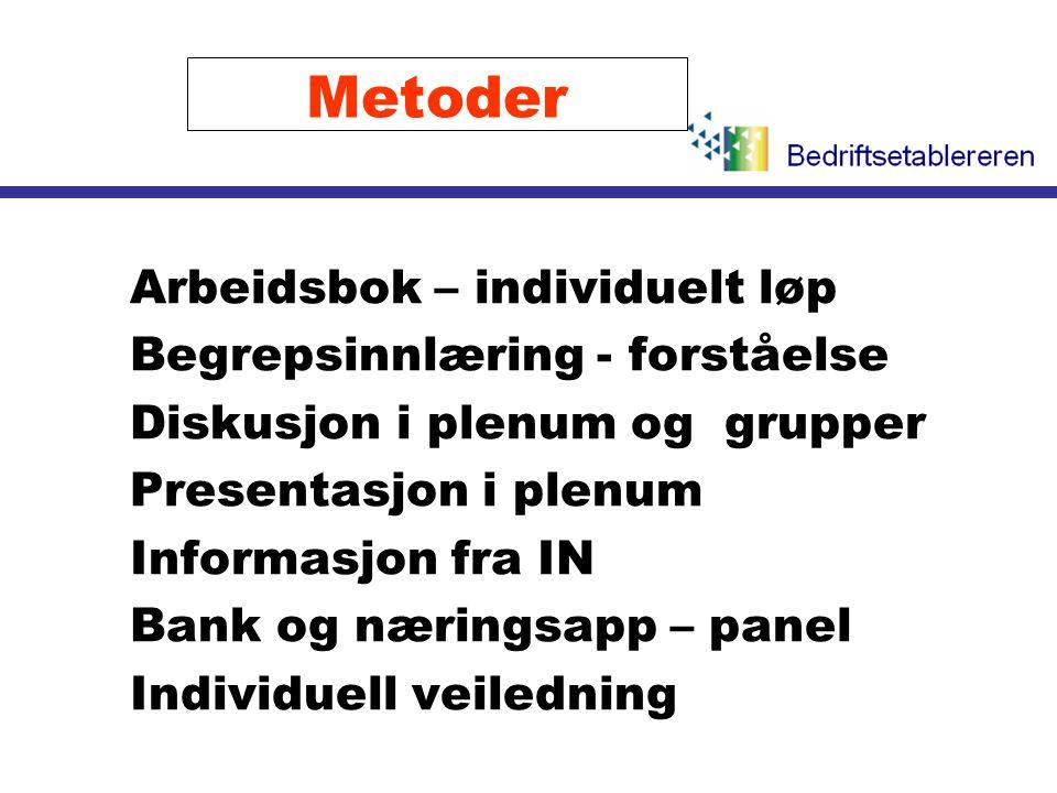 Metoder l Arbeidsbok – individuelt løp l Begrepsinnlæring - forståelse l Diskusjon i plenum og grupper l Presentasjon i plenum l Informasjon fra IN l