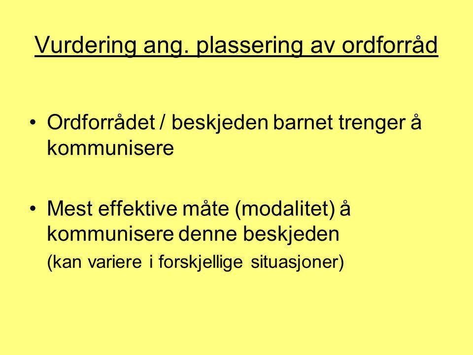 Vurdering ang. plassering av ordforråd •Ordforrådet / beskjeden barnet trenger å kommunisere •Mest effektive måte (modalitet) å kommunisere denne besk