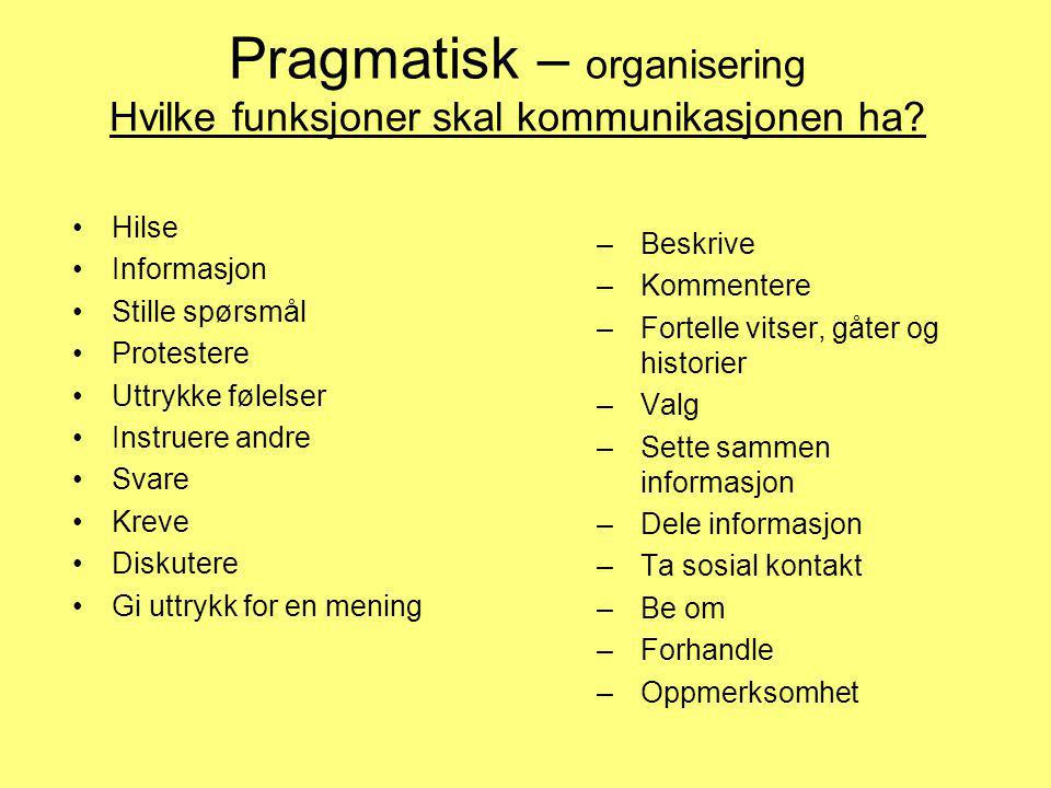 Pragmatisk – organisering Hvilke funksjoner skal kommunikasjonen ha? •Hilse •Informasjon •Stille spørsmål •Protestere •Uttrykke følelser •Instruere an