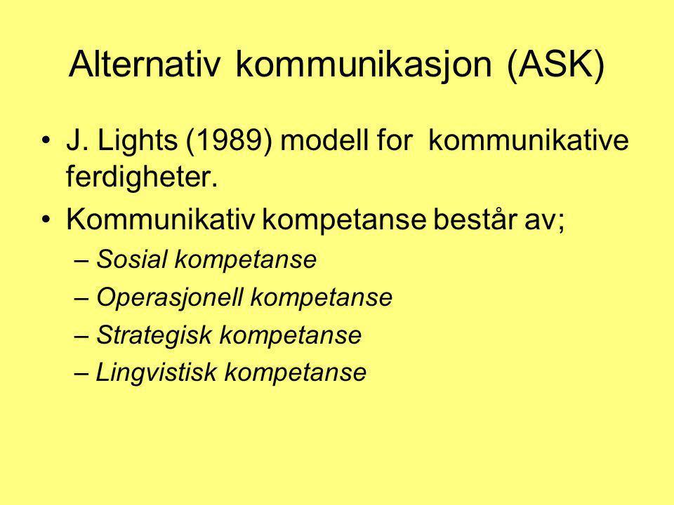 Alternativ kommunikasjon (ASK) •J. Lights (1989) modell for kommunikative ferdigheter. •Kommunikativ kompetanse består av; –Sosial kompetanse –Operasj