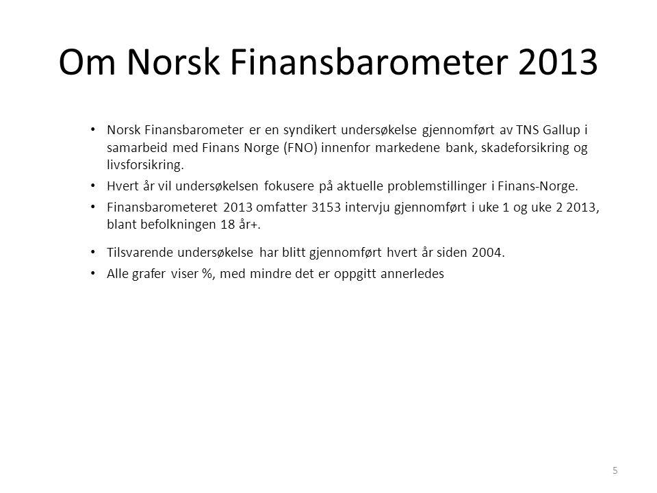 Om Norsk Finansbarometer 2013 5 • Norsk Finansbarometer er en syndikert undersøkelse gjennomført av TNS Gallup i samarbeid med Finans Norge (FNO) innenfor markedene bank, skadeforsikring og livsforsikring.