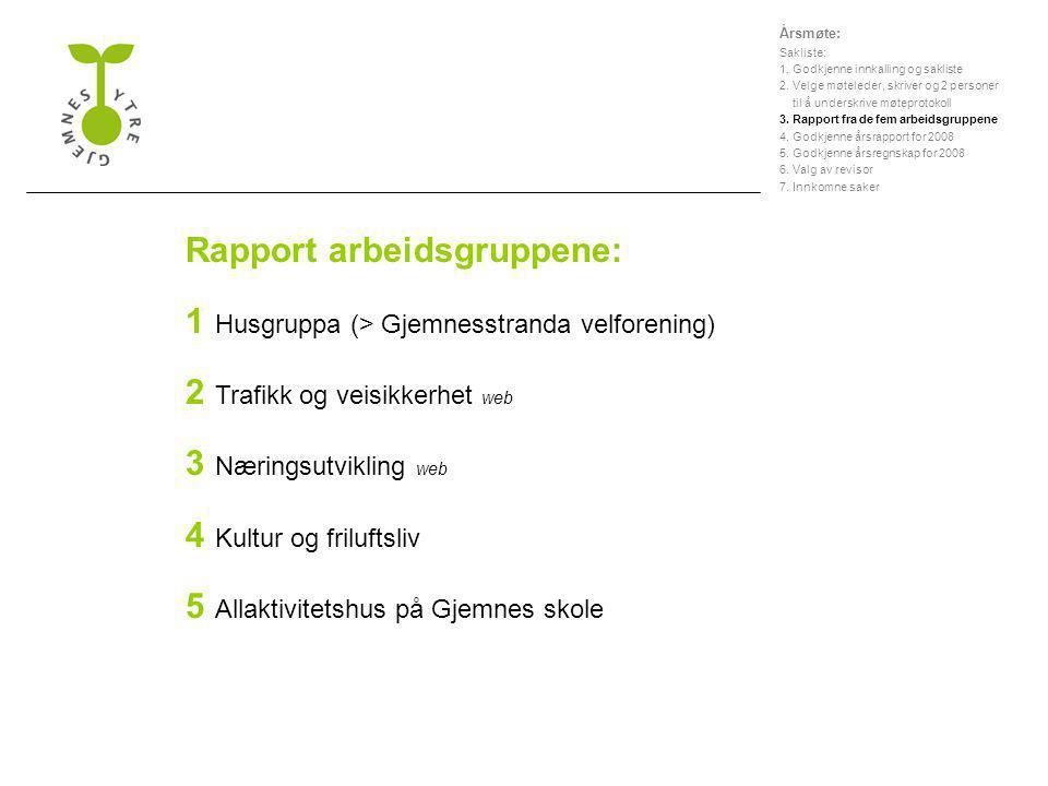 Rapport arbeidsgruppene: 1 Husgruppa (> Gjemnesstranda velforening) 2 Trafikk og veisikkerhet web 3 Næringsutvikling web 4 Kultur og friluftsliv 5 All