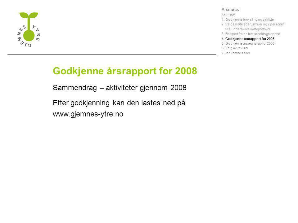Godkjenne årsrapport for 2008 Sammendrag – aktiviteter gjennom 2008 Etter godkjenning kan den lastes ned på www.gjemnes-ytre.no Årsmøte: Sakliste: 1.