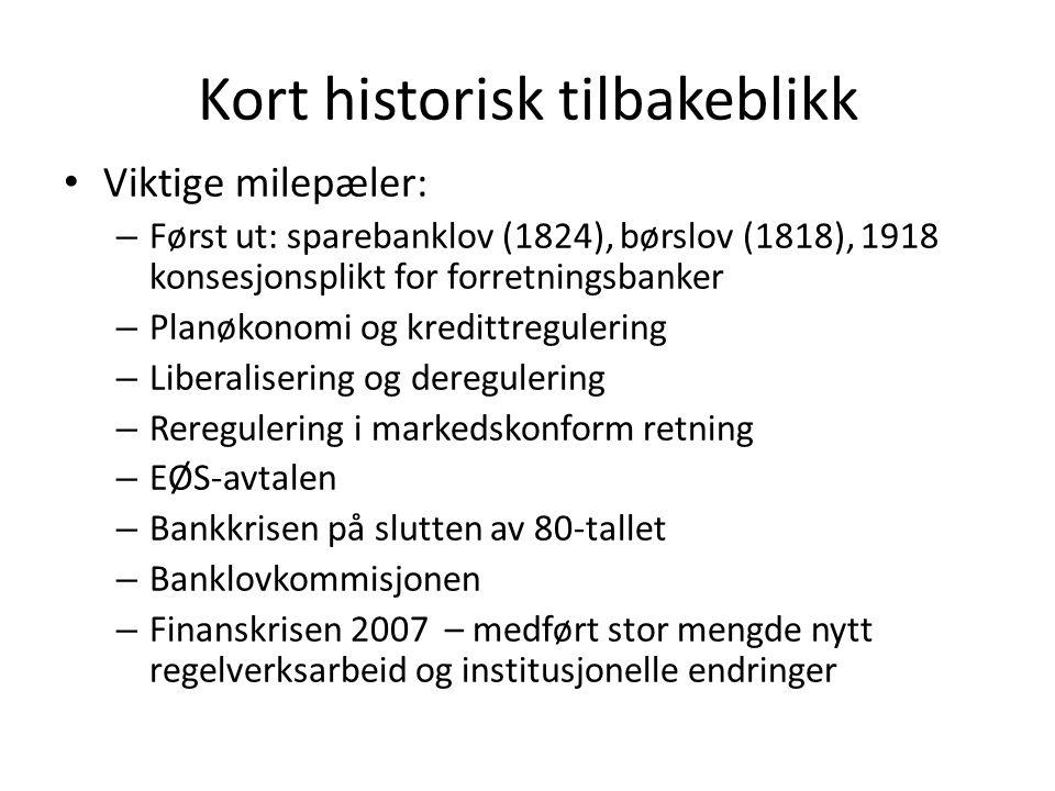 Kort historisk tilbakeblikk • Viktige milepæler: – Først ut: sparebanklov (1824), børslov (1818), 1918 konsesjonsplikt for forretningsbanker – Planøko