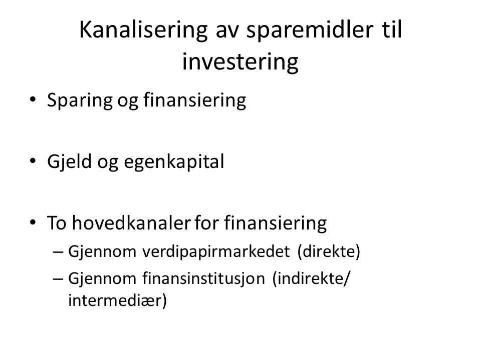 Kanalisering av sparemidler til investering • Sparing og finansiering • Gjeld og egenkapital • To hovedkanaler for finansiering – Gjennom verdipapirma