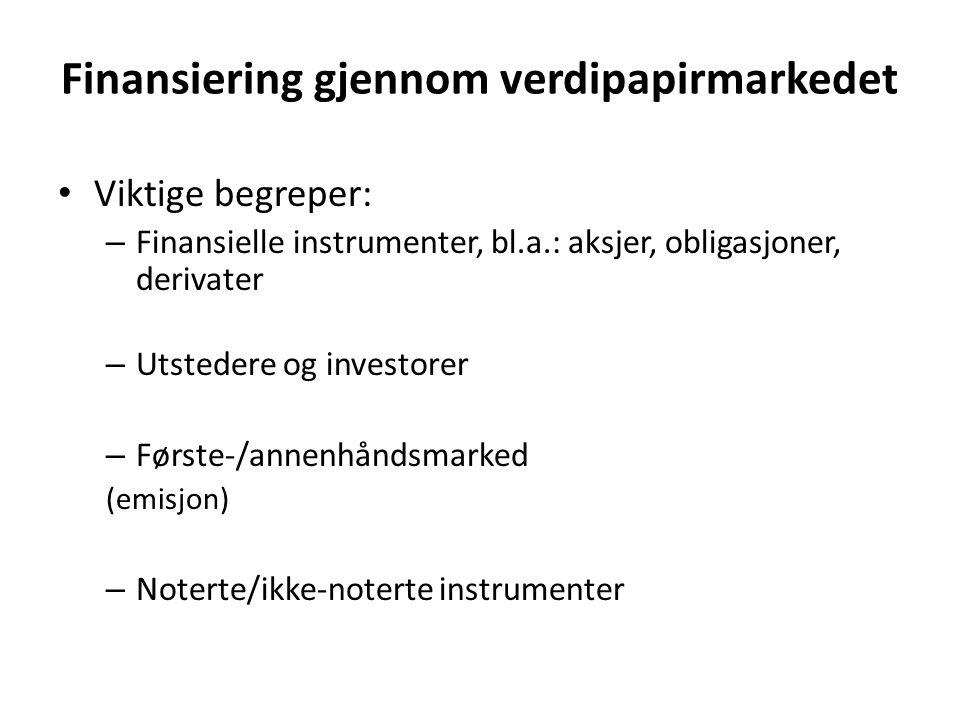 Finansiering gjennom verdipapirmarkedet • Viktige begreper: – Finansielle instrumenter, bl.a.: aksjer, obligasjoner, derivater – Utstedere og investor