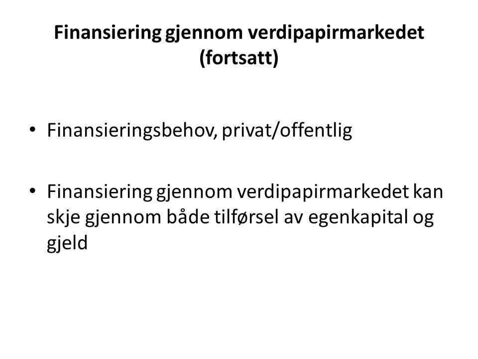 Finansiering gjennom verdipapirmarkedet (fortsatt) • Finansieringsbehov, privat/offentlig • Finansiering gjennom verdipapirmarkedet kan skje gjennom b