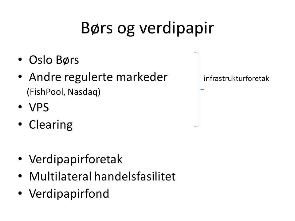 Børs og verdipapir • Oslo Børs • Andre regulerte markeder infrastrukturforetak (FishPool, Nasdaq) • VPS • Clearing • Verdipapirforetak • Multilateral