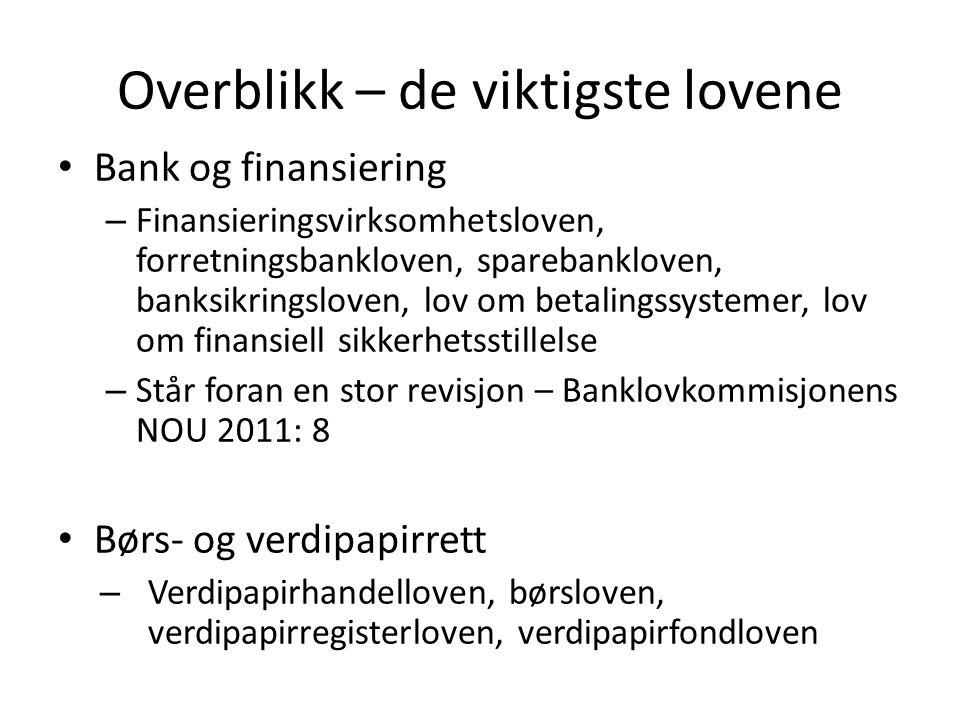 Overblikk – de viktigste lovene • Bank og finansiering – Finansieringsvirksomhetsloven, forretningsbankloven, sparebankloven, banksikringsloven, lov o