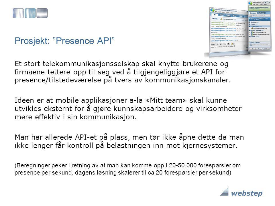 """Prosjekt: """"Presence API"""" Et stort telekommunikasjonsselskap skal knytte brukerene og firmaene tettere opp til seg ved å tilgjengeliggjøre et API for p"""