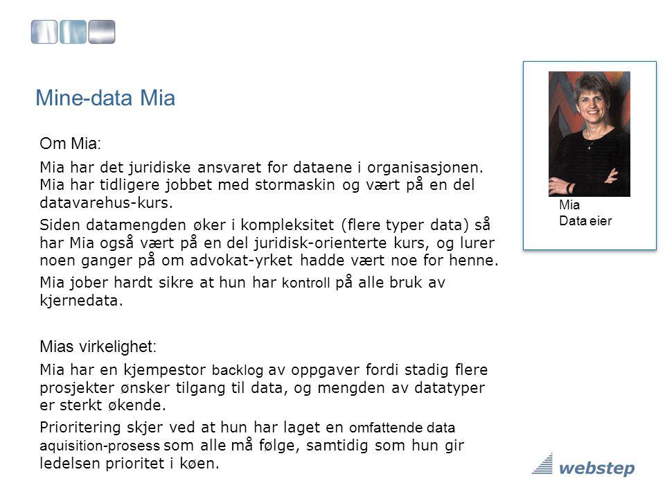 Mine-data Mia Om Mia: Mia har det juridiske ansvaret for dataene i organisasjonen. Mia har tidligere jobbet med stormaskin og vært på en del datavareh