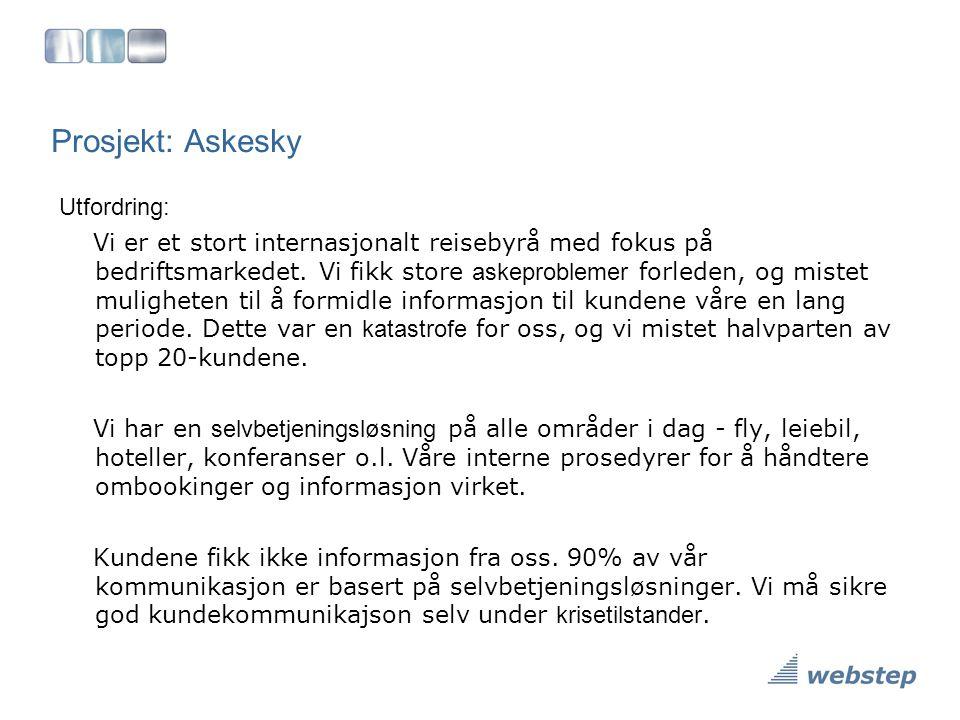 Prosjekt: Askesky Utfordring: Vi er et stort internasjonalt reisebyrå med fokus på bedriftsmarkedet. Vi fikk store askeproblemer forleden, og mistet m