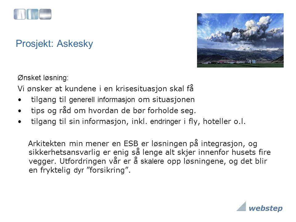 Prosjekt: Askesky Ønsket løsning: Vi ønsker at kundene i en krisesituasjon skal få • tilgang til generell informasjon om situasjonen • tips og råd om