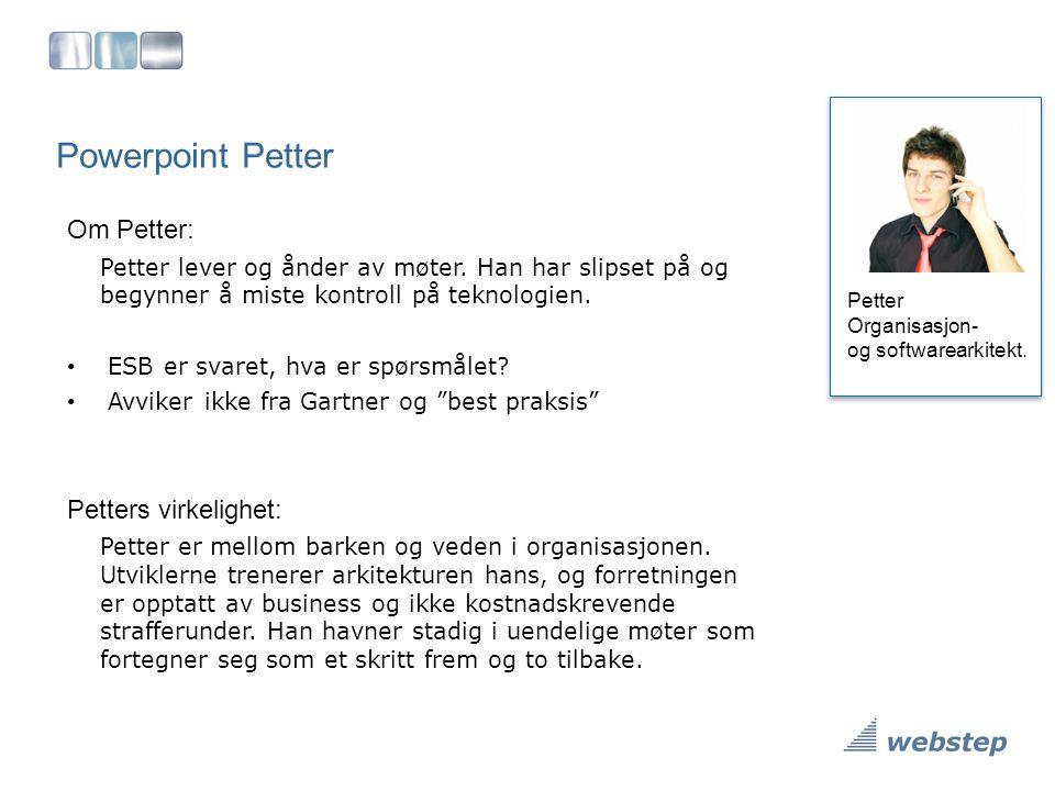 Powerpoint Petter Petter Organisasjon- og softwarearkitekt. Om Petter: Petter lever og ånder av møter. Han har slipset på og begynner å miste kontroll