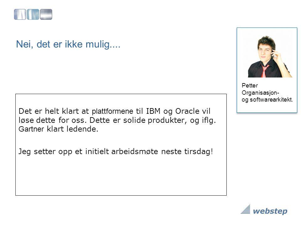 Nei, det er ikke mulig.... Petter Organisasjon- og softwarearkitekt. Det er helt klart at plattformene til IBM og Oracle vil løse dette for oss. Dette