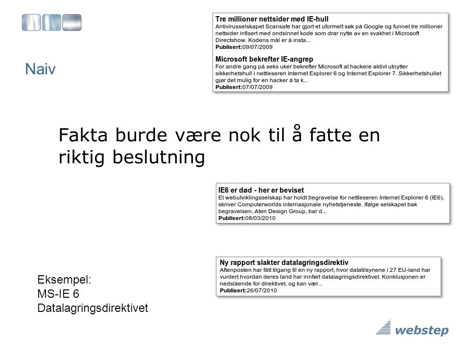 Naiv Fakta burde være nok til å fatte en riktig beslutning Eksempel: MS-IE 6 Datalagringsdirektivet