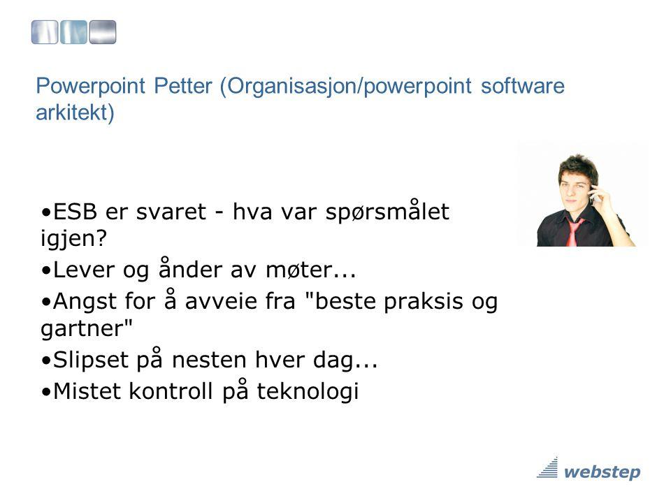 Powerpoint Petter (Organisasjon/powerpoint software arkitekt) •ESB er svaret - hva var spørsmålet igjen? •Lever og ånder av møter... •Angst for å avve