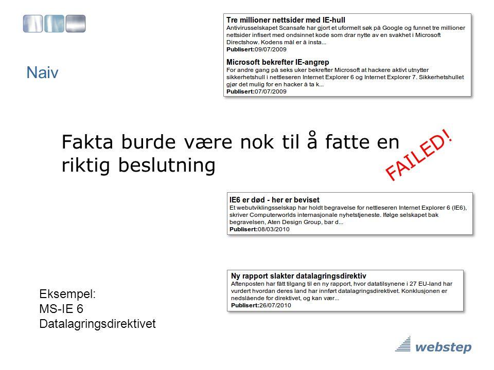 Naiv Fakta burde være nok til å fatte en riktig beslutning FAILED! Eksempel: MS-IE 6 Datalagringsdirektivet