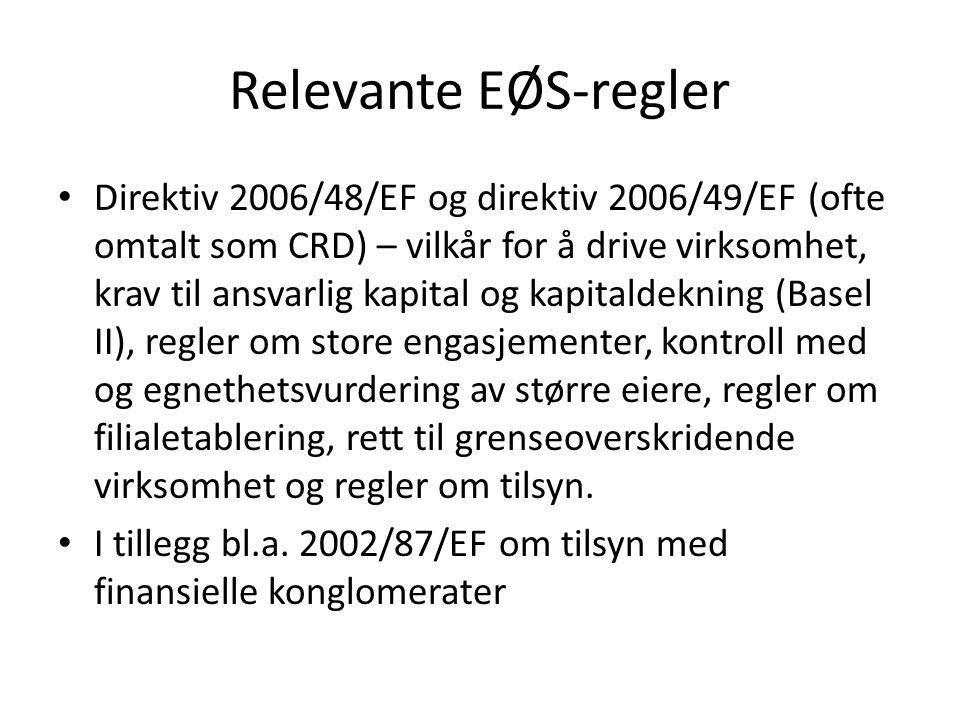Relevante EØS-regler • Direktiv 2006/48/EF og direktiv 2006/49/EF (ofte omtalt som CRD) – vilkår for å drive virksomhet, krav til ansvarlig kapital og