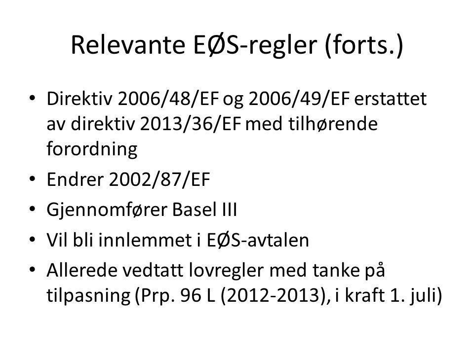 Relevante EØS-regler (forts.) • Direktiv 2006/48/EF og 2006/49/EF erstattet av direktiv 2013/36/EF med tilhørende forordning • Endrer 2002/87/EF • Gje