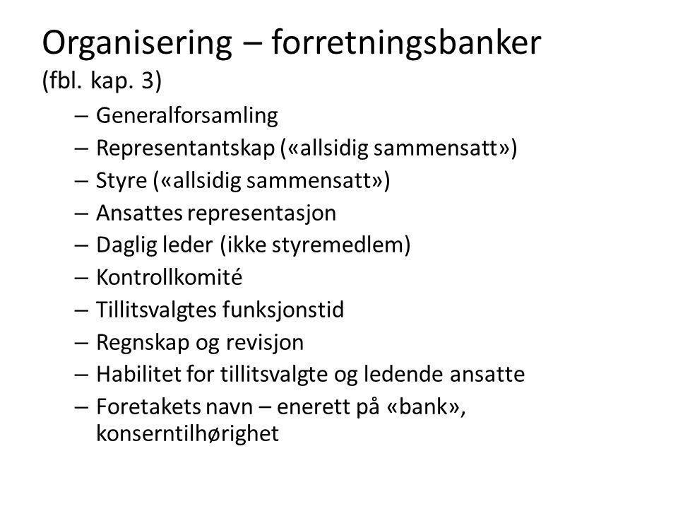 Organisering – forretningsbanker (fbl. kap. 3) – Generalforsamling – Representantskap («allsidig sammensatt») – Styre («allsidig sammensatt») – Ansatt
