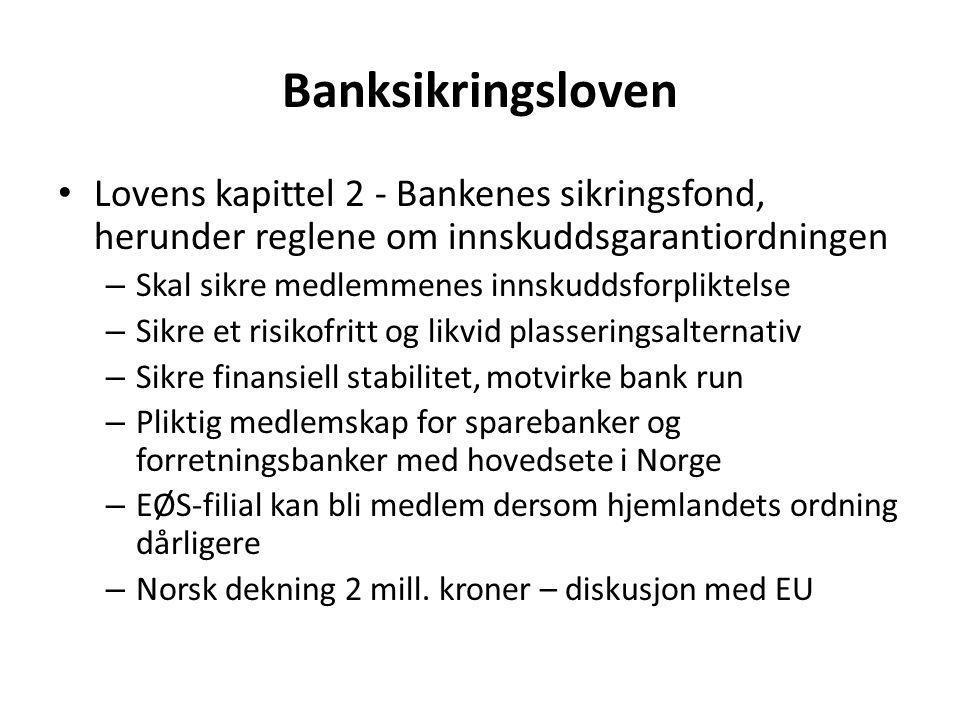 Banksikringsloven • Lovens kapittel 2 - Bankenes sikringsfond, herunder reglene om innskuddsgarantiordningen – Skal sikre medlemmenes innskuddsforplik