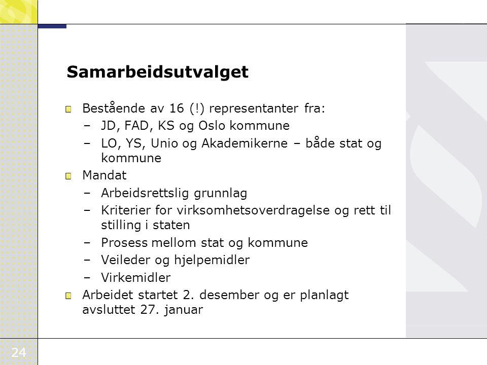 24 Samarbeidsutvalget Bestående av 16 (!) representanter fra: –JD, FAD, KS og Oslo kommune –LO, YS, Unio og Akademikerne – både stat og kommune Mandat